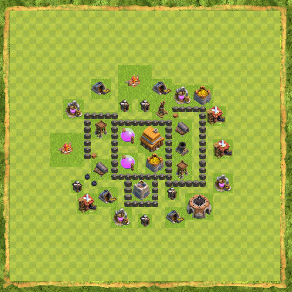 Base Defense Coc Th 4 8