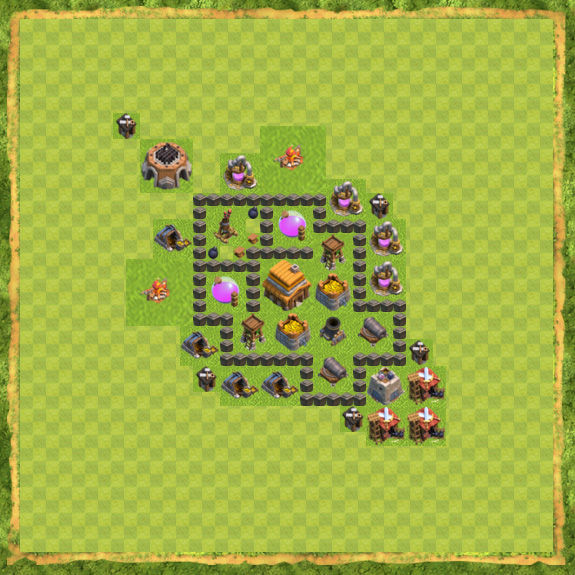 Base War Coc Th 4 14