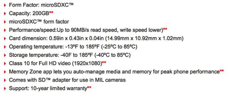Spesifikasi Sandisk 200gb