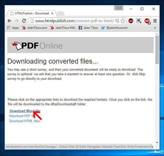 convert PDF to Word secara online