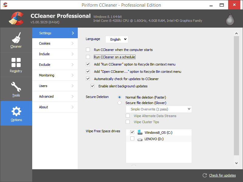 ccleaner screenshoot