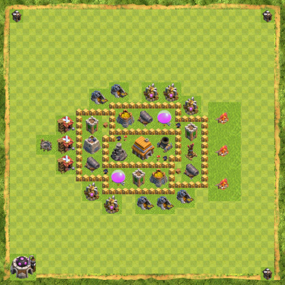 Kumpulan formasi base town hall 5 defense trophy clash of clans