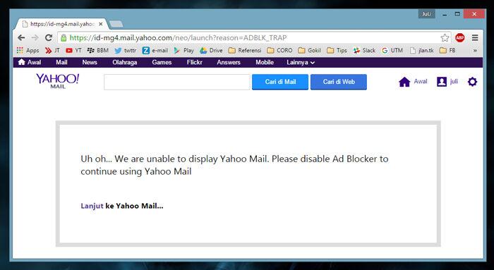 Email Yahoo Adblock