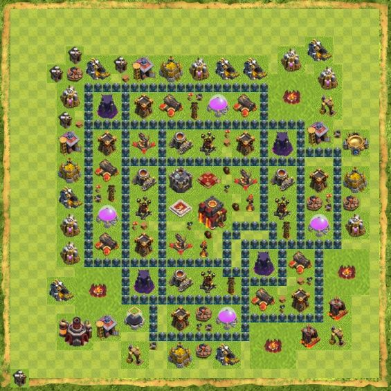 Coc base town hall 10 clan war yang bisa digunakan untuk base coc