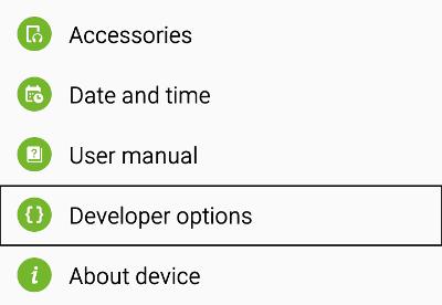 1 Developer Options
