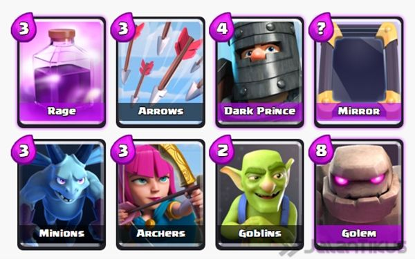 Kombinasi Battle Deck Golem Terbaik di Clash Royale