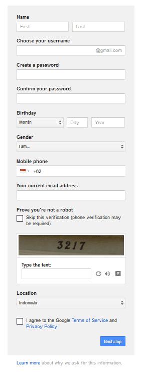 Cara Membuat Email Gratis Gmail 5