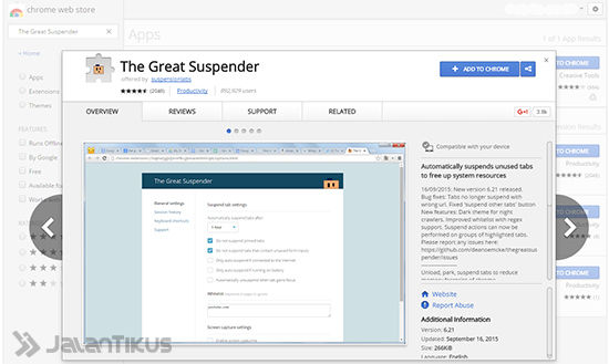Pasang Ekstensi One Tab atau The Great Suspender