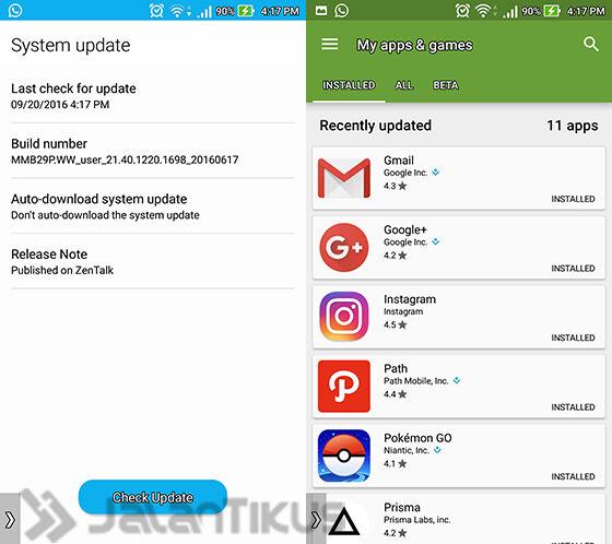 cara mempercepat smartphone android -cek update