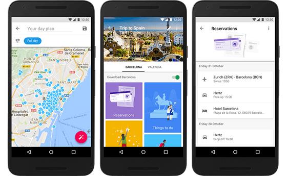 Tampilan Google Trips