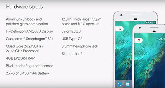 Spesifikasi Google Pixel Dan Pixel Xl