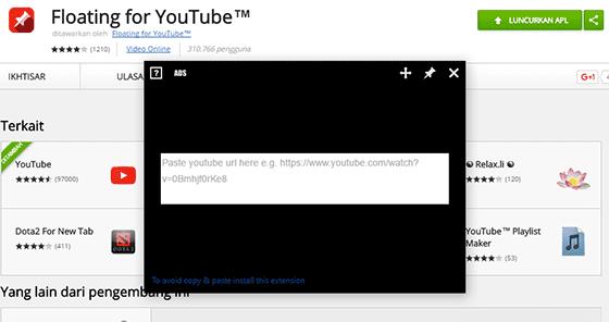 Tampilan Youtube Secara Pop Up 5