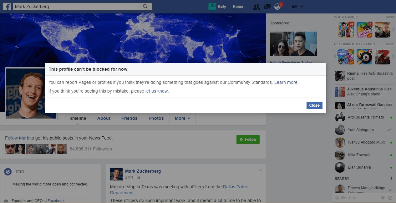 Akun Facebook Mark Zuckerberg Tidak Bisa Diblokir