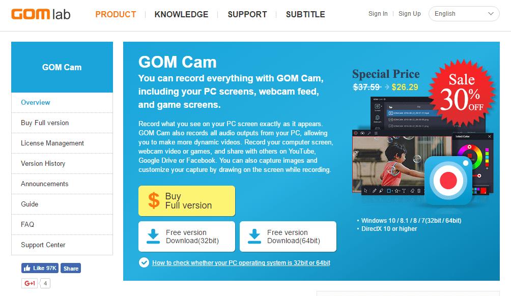 Software Perekam Layar Komputer Gom Cam