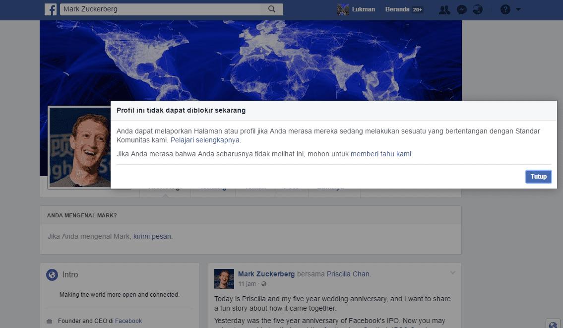 Profil Mark Zuckerberg Tidak Dapat Diblokir