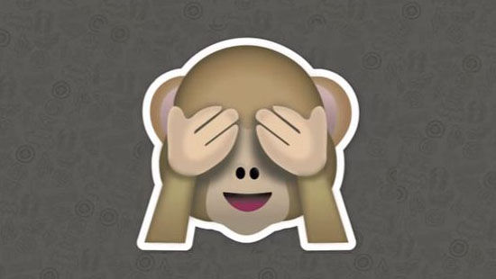 Emoji monyet menutup kedua matanya