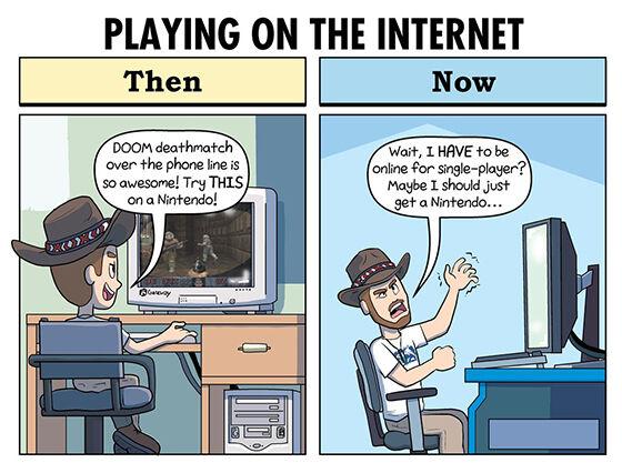 Ilustrasi Perbandingan Gamer Jadul Dan Jaman Now 02