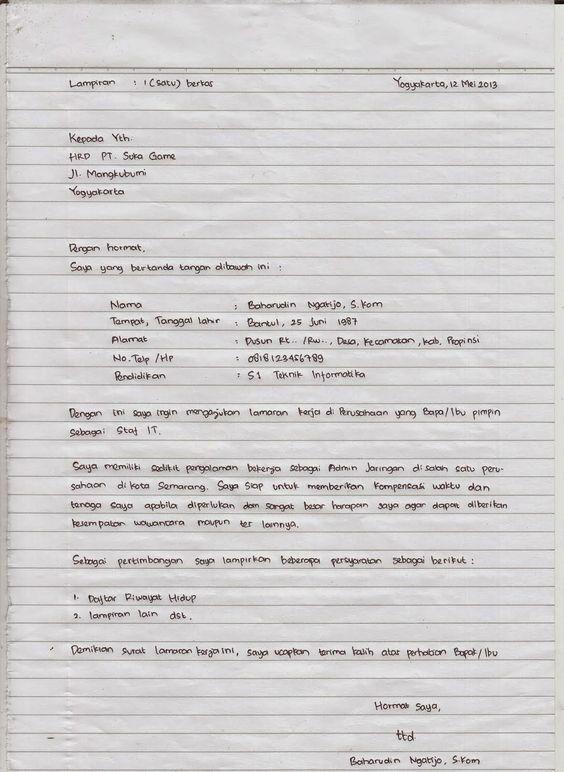 Cara Membuat Lamaran Kerja Tulis Tangan 4 89c89
