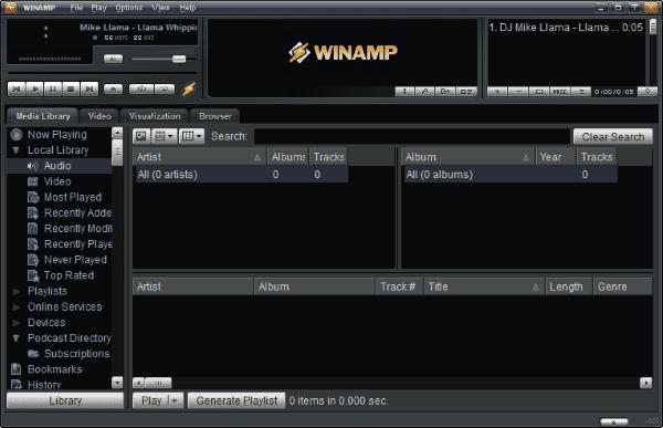 Tampilan Software Winamp