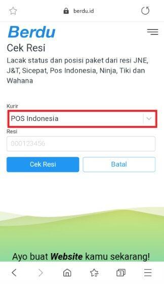 Cek Resi Pos Indonesia Di Website Berdu Satu D0b63