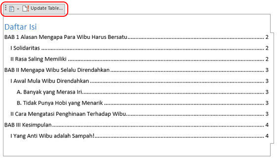 Cara Membuat Daftar Isi 9 376c2