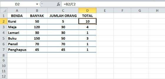 Rumus Excel Pembagian 30dca