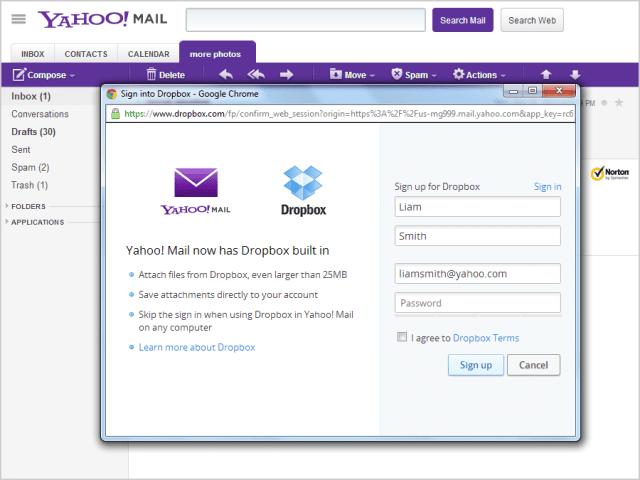 Yahoo Kerjasama Dengan Dropbox 1