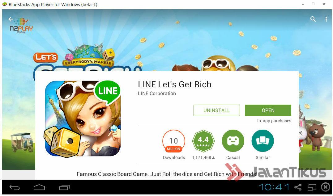 Jika Kamual Melakukan Instalasi Kamu Bisa Men Download Line Lets Get Rich Langsung Dari Playstore Yang Ada Di Bluestack