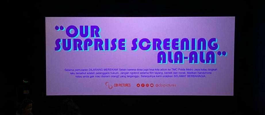 CGV Surprise Screening Ala-Ala: Jaka Cabut Setelah 5 Menit Filmnya Mulai. Kenapa?