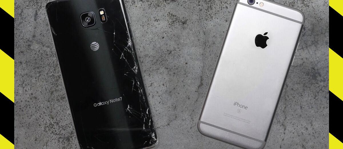 Drop Test Samsung Galaxy Note 7 vs iPhone 6S, Siapa yang Paling Kuat?