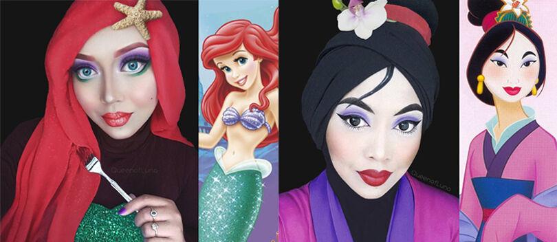 Cantiknya Wanita Ini Saat Menirukan Karakter Disney Menggunakan Hijab