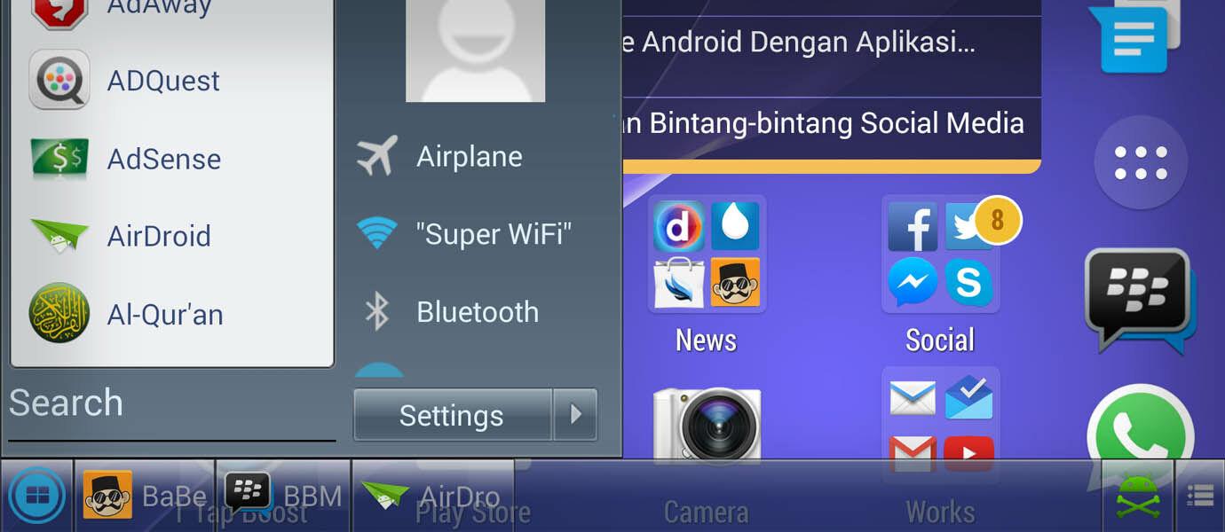 Cara Pasang Start Menu Windows di Smartphone Android