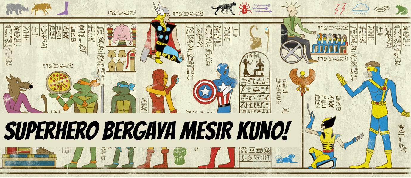 7 Wujud Superhero yang Digambar dengan Gaya Mesir Kuno