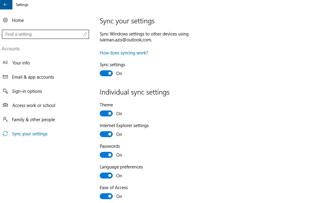 Nonaktifkan Windows 10 Sync