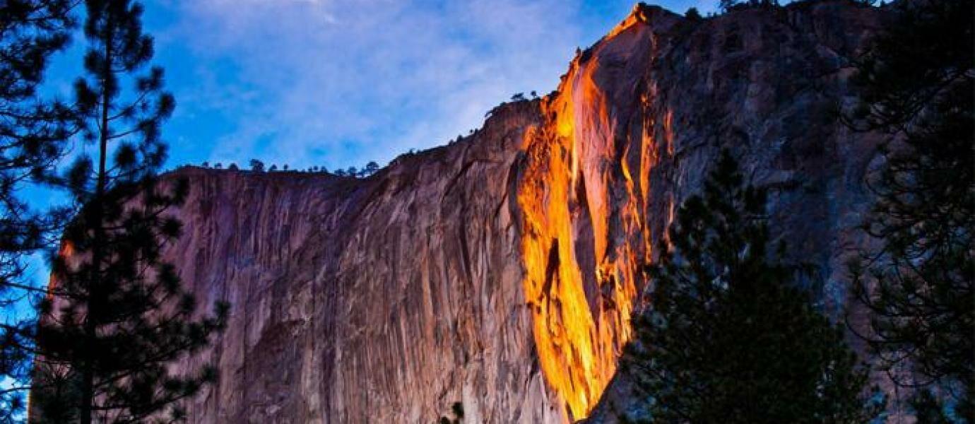 AJAIB! Fenomena Air Terjun Api Muncul di Taman Nasional California!