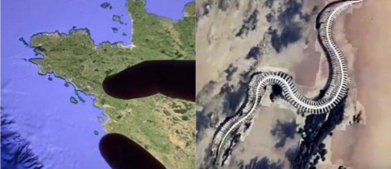 Penampakan Patung Kerangka Ular Raksasa Dari Google Earth 0236a