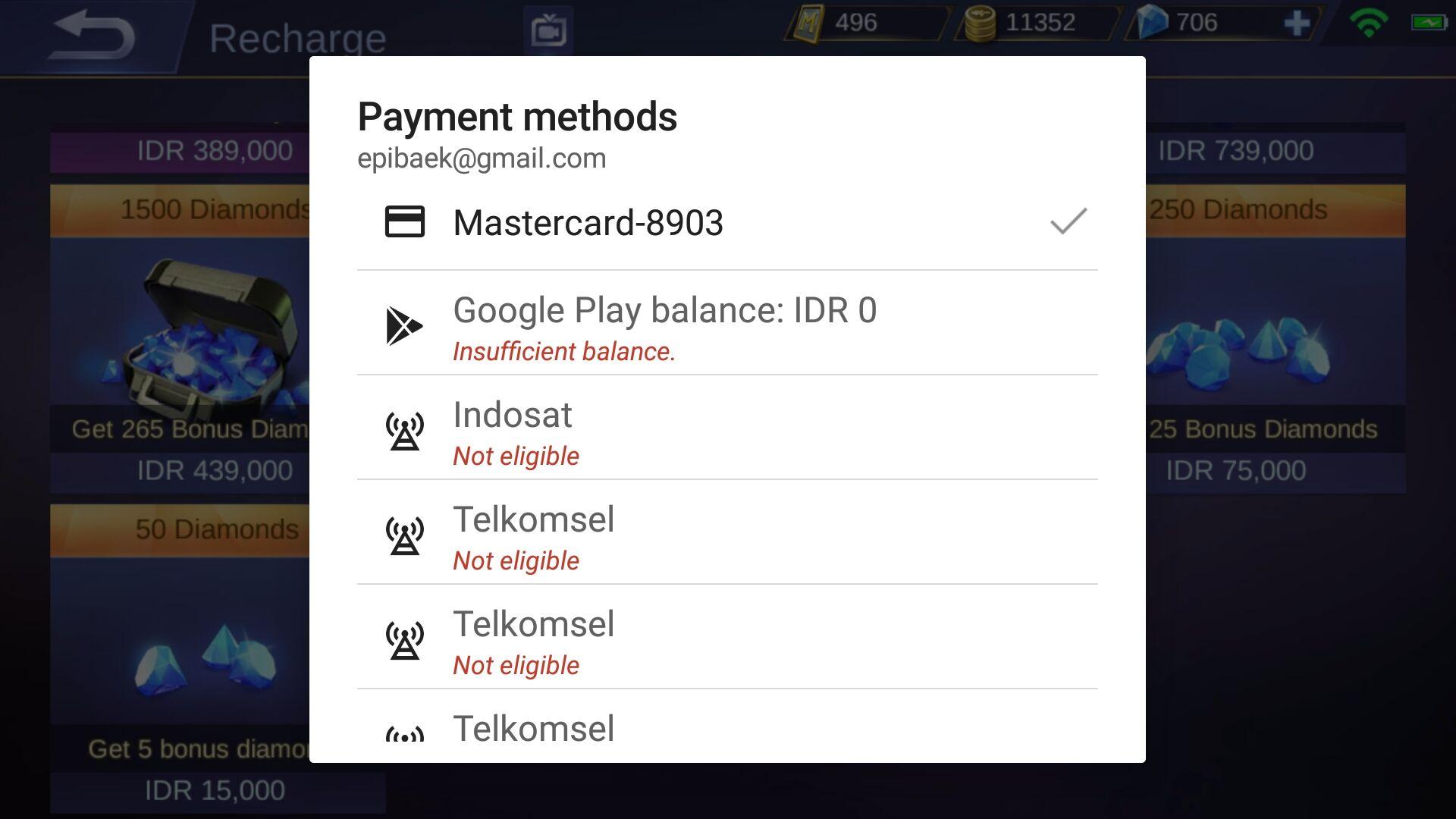 Cara Beli Diamond Mobile Legends Dengan Voucher Google Play