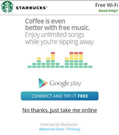 Streaming Musik Gratis Dengan WiFi Starbucks Banner