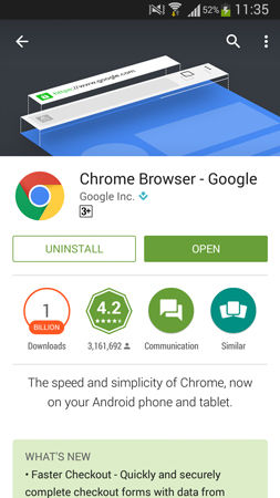 Google Chrome For Android Didownload 1 Milyar Pengguna