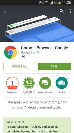 Google Chrome For Android Didownload 1 Milyar Pengguna