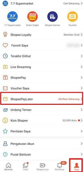 Cara Mengaktifkan Shopee Paylater E7474