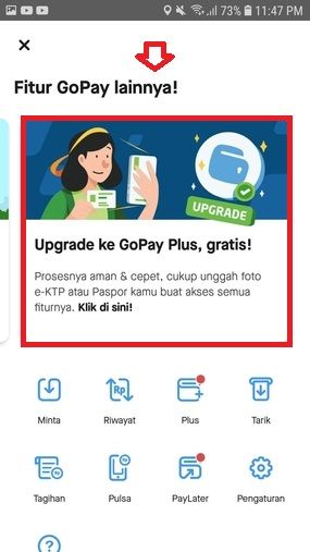Cara Upgrade Gopay Klik Lainnya Pilih Upgrade Gopay Eb570