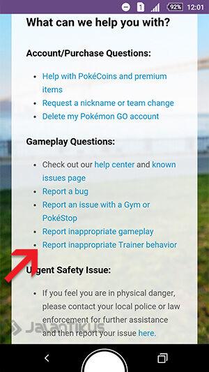 Cara Melaporkan Pemain Pokemon Go Yang Curang 3