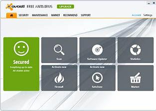 Avast Free Antivirus 8 Halaman Utama