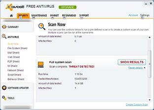 Avast Free Antivirus 8 Hasil Scan