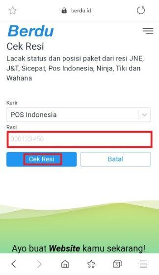 Cek Resi Pos Indonesia Di Website Berdu Dua F0a19
