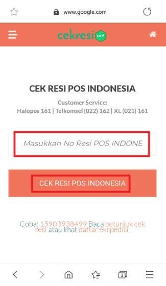 Cek Resi Pos Indonesia Di Website Cekresi 8fd7e