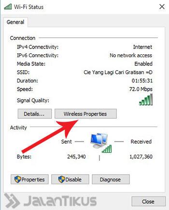 Mengetahui Password Wifi Windows 10 3