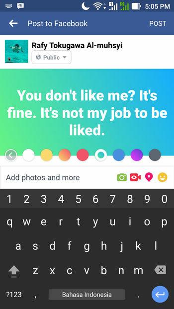 Cara Membuat Status Facebook Warna Warni 2