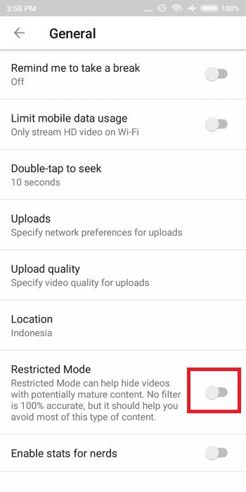 Cara Mematikan Mode Restricted Youtube 5 Efb8a